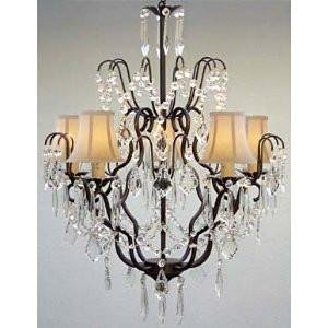 Versailles Wrought Iron Chandelier - New! Wrought Iron & Crystal Chandelier With White Shades! H27 x W21
