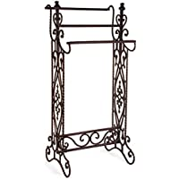 36' Charismatic Narrow Quilt Rack with Ornate Flourish Accents