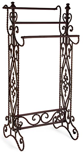 36'' Charismatic Narrow Quilt Rack with Ornate Flourish Accents by CC Home Furnishings