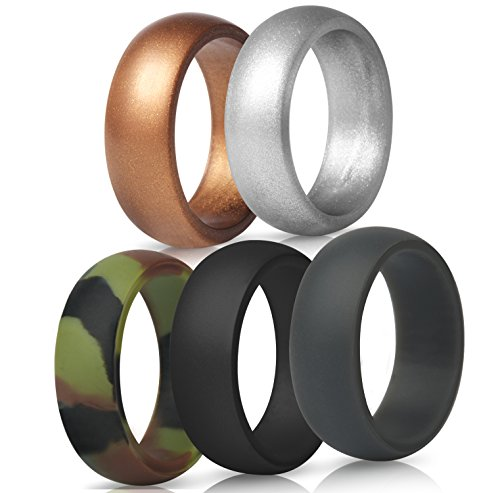 ThunderFit Mens Silicone Wedding Rings Wedding Bands - 5 Pack - 8.7mm Wide (2mm Thick) (8.5-9 (18.9mm))