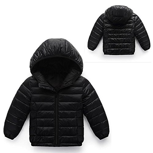 Hooded Up Jacket Black AIEOE Outwear Long Winter Zipper Coat 8T Down 3 Girls Sleeve qwAH6