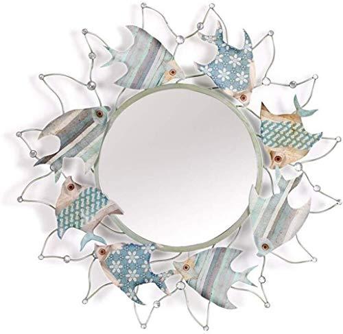 JIANGLI European Makeup Mirror, Creative Fish-Shaped Porch Mirror Wall-Mounted Bathroom Toilet Decorative -