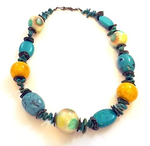 Southwest Carnival - A Fun Genuine Turquoise and Yellow Shell Bead Necklace - Turquoise Collection