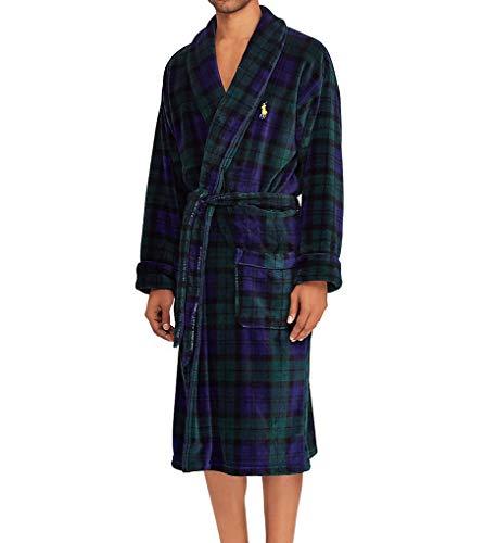 (Polo Ralph Lauren Men's Microfiber Plush Long Sleeve Shawl Collar Robe Blackwatch Plaid/Polo Yellow Pony Print Small)