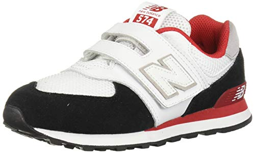 - New Balance Boys' Iconic 574 V1 Hook and Loop Running Shoe, Black/Team RED, 2 M US Little Kid