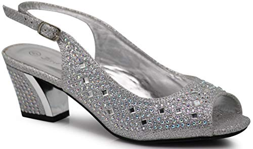 Enzo Romeo Lime01 Womens Open Toe Low Heel Wedding Rhinestone Wedge Sandal Shoes (9, Silver)