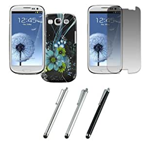 EMPIRE Samsung Galaxy S III / S3 Stealth Design Case Cover (Green and Teal Flowers) + 3 Pack of Stylus Pointers (Brushed Metal / Black / Metallic) + Invisible Screen Protector [EMPIRE Packaging]