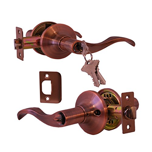 Constructor Lever Door Lock Set Knob Handle Lockset Entry Door Antique Copper (PRELUDE ENTRY) (Copper Door Handles compare prices)