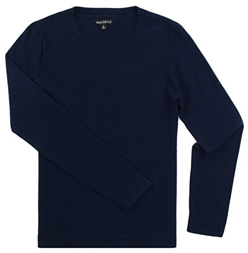 Cotton/Wool Blend Crew Neck Long Sleeved Sweater (Multiple Color Options (Large, Navy) ()