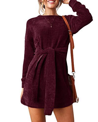 Klousilover Womens Crewneck Casual Dress Ribbed Tie Front Long Sleeve T Shirt Mini Dresses