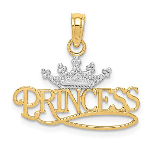 14k Yellow Gold Princess Crown Pendant Charm Necklace Kid Talking Fine Jewelry Gifts For Women For - Charm 14k Gold Princess