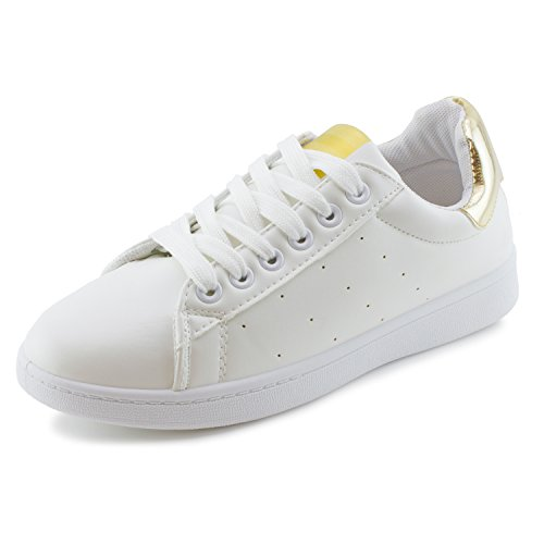 Link Dames Effen Kleur Vetersluiting Loopschoenen Loopschoenen Sneakers (big Kid / Adults) Wit / Goud
