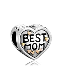Sterling Silver Heart I Love Best Mom Mother Charm New Beads Fits Pandora Jewelry Bracelet Gifts