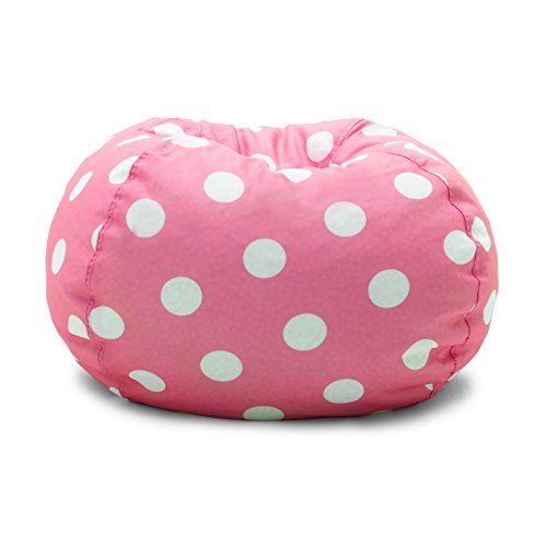 Big Joe 0630251 Candy Pink Polka Dot Classic Bean Bag Chair, White (Bag Chairs Kids Bean)