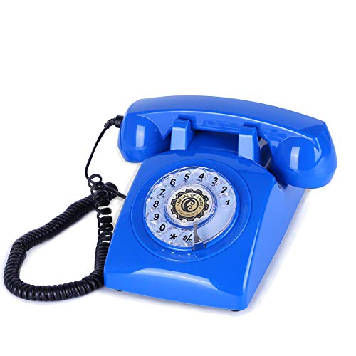 Sangyn Retro Rotary Dial Telephone 1960's Classic Old Fashioned Retro Vintage Bell Corded Desk Telephone,SkyBlue