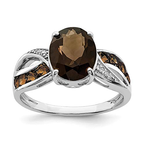 - 925 Sterling Silver Diamond Smoky Quartz Band Ring Size 7.00 Gemstone Fine Jewelry For Women Gift Set
