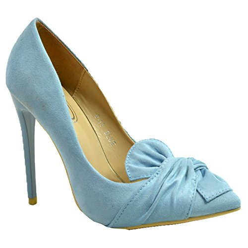 New Womens Ladies Bow High Stiletto Heel Court Pumps Shoes Size UK 3-8 Blue T3aYeRx
