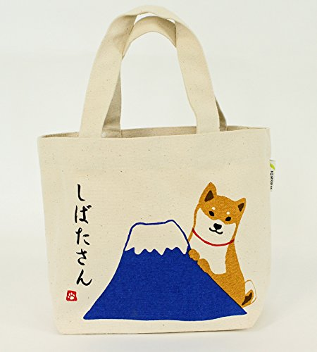 Mini-Tragetasche /Henkeltaschen/ Innentasche / Shiba-Hund mit Mt.Fuji natural / NarumiKK Narumi