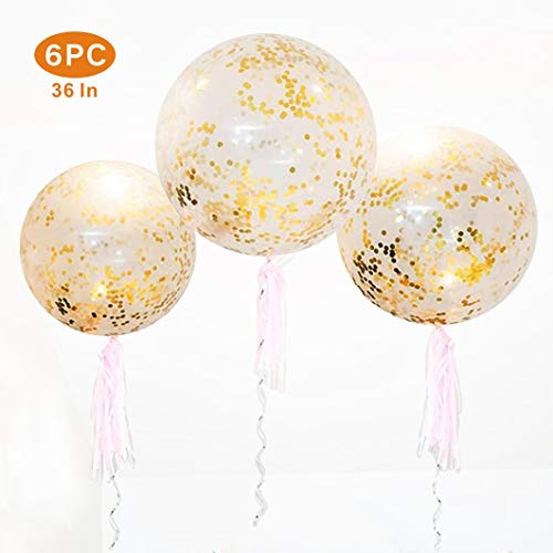 36 inch Jumbo Confetti Balloons, Giant Latex Balloon with Gold Confetti (Premium Helium Quality) pkg/6 Latex Glitter Balloons for Party/Birthdays /Wedding/Festivals Christmas and Event Decorations