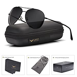 LUENX Aviator Sunglasses Polarized Black for Men Women with Case - UV 400 Protection - All Black Metal Frame 60mm