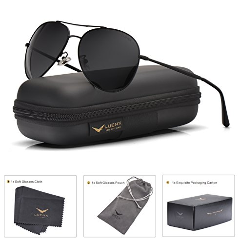 LUENX Aviator Sunglasses Polarized Black for Men Women with Case - UV 400 Protection - All Black Metal Frame - Aviator Polarized Mirrored Sunglasses Men For
