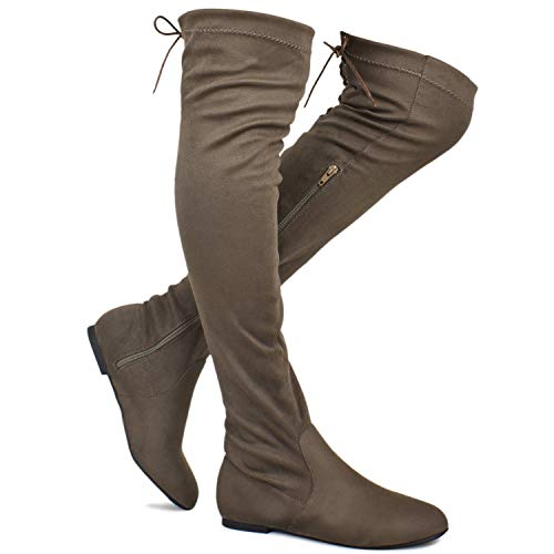 (Premier Standard - Women's Fashion Comfy Vegan Suede Side Zipper Over Knee High Boots, TPS Boots-04Eikciv Taupe Su Size 10)