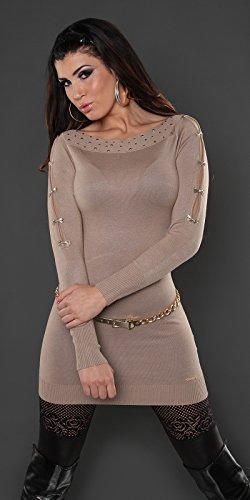 long pull mini robe beige bras ajourée nouvelle collection femme koucla