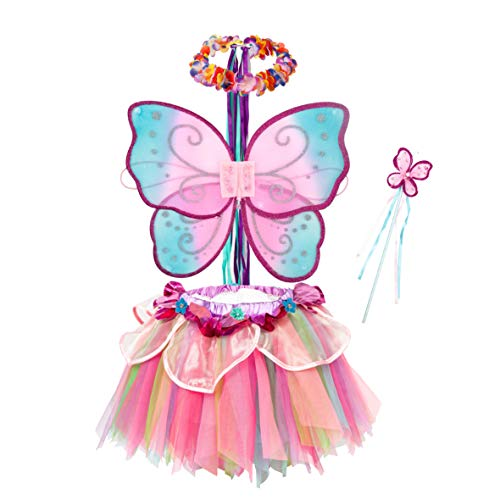 Fairy Tutu Halloween Costumes (Pink Rainbow Fairy Princess Costume for Girls Dress Up with Tutu Dress and Accessories)