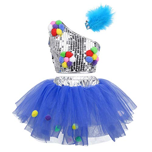 zdhoor Kid Girls 3PCS Sequins Jazz Ballet Dance Dress Tutu Skirt Outfit Ballroom Stage Performance Costumes Blue 7-8