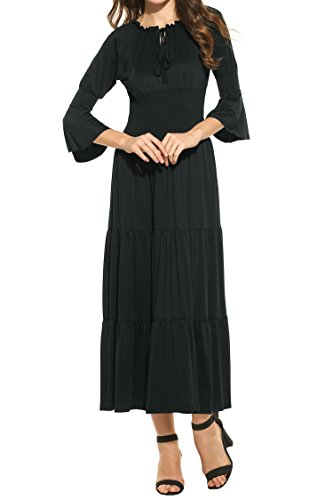 - Meaneor Women's 3/4 Bell Sleeve Elastic Waist Tiered Renaissance Pleated Maxi Dress Black M