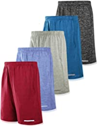 Pack of 5 Men's Athletic Basketball Shorts Mesh Quick Dry Activewear with Pocket