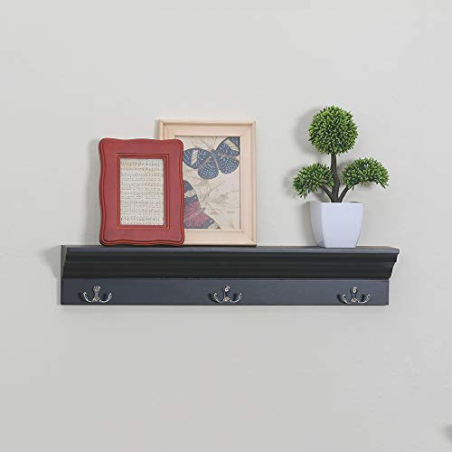 love furniture Entryway Shelf with 3 Hooks Wooden Coat Rack Floating Wall Mounted Shelf, Black