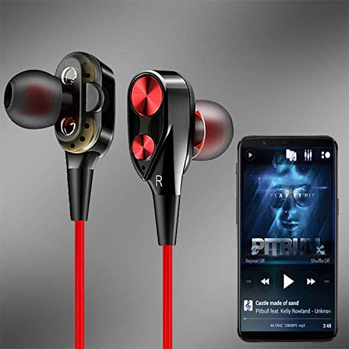 PTron Boom 2 4D Earphone Deep Bass Stereo Sport Wired Headphone with 3.5mm Jack for All Smartphones (Black/Red)