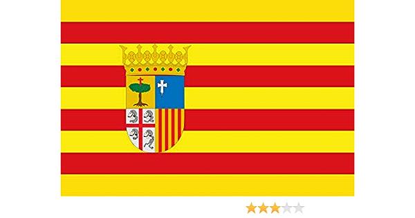 Durabol Bandera de Aragón Comunidades autónomas de España 60 * 90 cm Satin 2 Anillas metálicas fijadas en el Dobladillo: Amazon.es: Jardín