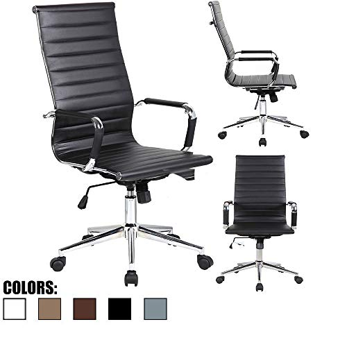 2xhome Mid Century Modern Contemporary Black Desk Ergonomic Office Chair with Arms Wheels Modern High Back Tall Robbed PU Leather Swivel Tilt Adjustable Boss Executive Manager Chrome Home Work Task