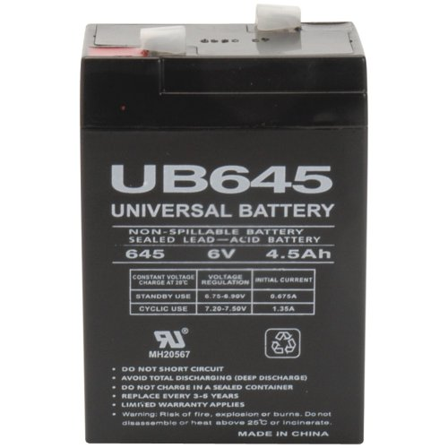 - 1 - Sealed Lead Acid Batteries (6V; 4.5Ah; UB645), Used in UPS backup systems, spotlights, flashlights, exit lighting & other equipment, 6V, 85998/D5733
