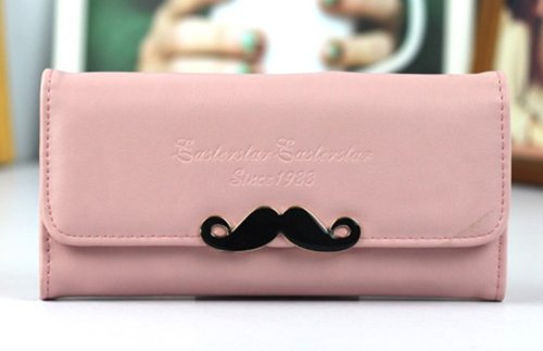 Big Mango Fashion Long Style Multi-purpose Envelope Clutch Wallet and Flip Cellphone Bag with Inner Multiple Card Holders & Beautiful Moustache & Snap Button Closure for Apple Iphone 4 4s Iphone 5 Iphone 5s 5c Samsung Galaxy S4 S3 HTC Blackberry MP3 Makeup Money HUAWEI ( Light Pink )