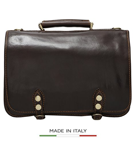 Luggage Depot USA, LLC Men's Alberto Bellucci Italian Leather Double Compartment D. Brn Laptop Messenger Bag, Dark Brown, One Size by Luggage Depot USA, LLC