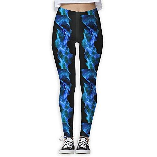 Women's Girl Blue Fire Light High Waist Casual Leggings Tights Yoga Pants Running Pants Stretchy Sport Pilates Workout Long (After Halloween Candy Sale Best)