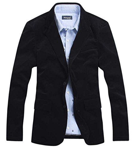 - chouyatou Men's Corduroy Slim Fit Two-Button Blazer with Elbow Patches (Large, Black)