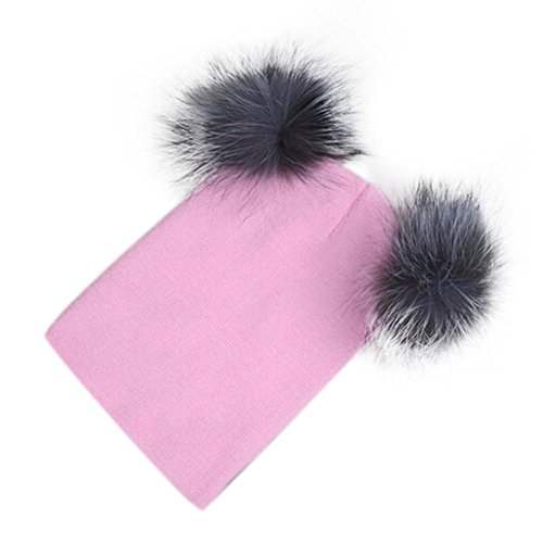 [Winhurn Winter Warm Women Knitted Beanie Hip Hop Cap Ski Hat with Two Balls (Pink)] (Hip Hop Felt Hat With Feather)