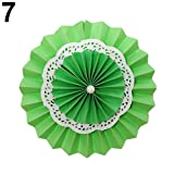 ZX101 Hanging Tissue Double-Layer Paper Fan Folding Fan for Wedding Birthday Party Background Wall Decoration Green