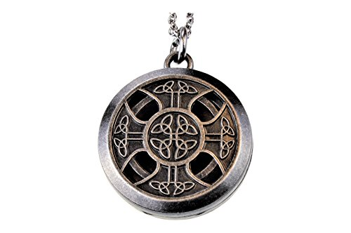 mEssentials Celtic Cross Pewter Aroma Aromatherapy Essential Oil Diffuser Necklace Locket Pendant Jewelry ...