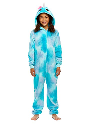 96316268 Girls Narwhal Pajamas - Plush Zippered Kids Animal Onesie Blanket Sleeper -  XS