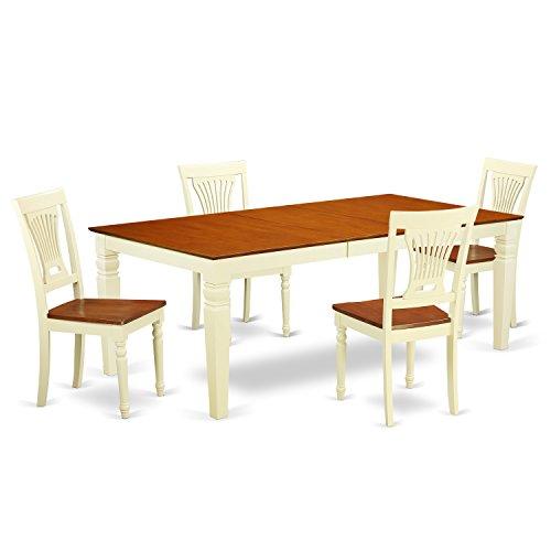 East West Furniture LGPL5-BMK-W 5 PC Dining Room Set with One Logan Dining Room Table & 4 Dining Room Chairs in Buttermilk & Cherry Finish