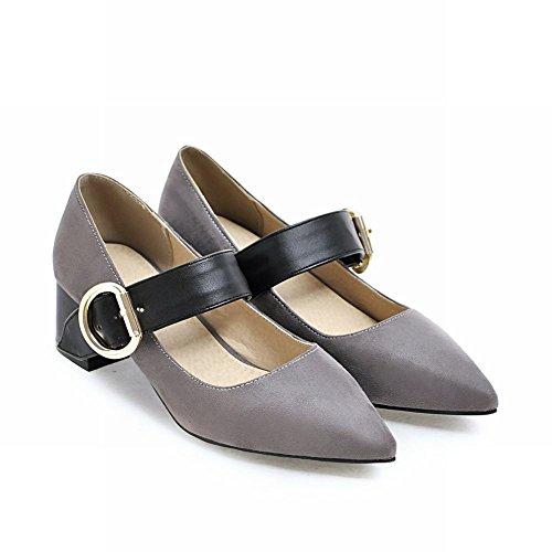 Mee Shoes Damen chunky heels Schnalle spitz Pumps Grau
