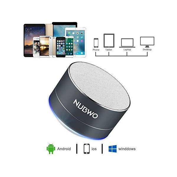 Enceinte Bluetooth, NUBWO A2 Enceinte Bluetooth Mini Portable de Voyage, Enceinte sans Fil avec des Basses Enforcées et des Appels en Mains Libres, Fonctionne avec iPhone, iPad, Samsung - Noir 4