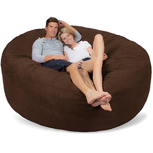 Comfy Sacks 7 ft Memory Foam Bean Bag Chair, Chocolate Micro Suede