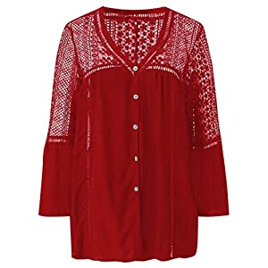 Rikay Womens Lace Long Sleeve Casual V Neck Button Hollow Plain Sweatshirt Loose T Shirt Blouses Tunic Tops Red