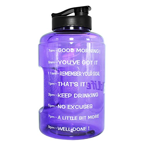 QuiFit Gallon Sport Water Bottle with Motivational Time Marker BPA-Free Reusable Wide Mouth Opening Easy to Fill,128/83 Ounce for Measuring Your Daily Water Intake(Light Purple 128 OZ)